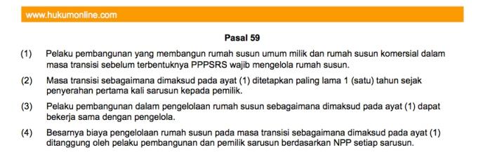 Pasal 59, UU No.20 tentang Masa Transisi Pengelolaan Rumah Susun Sebelum PPPSRS Terbentuk