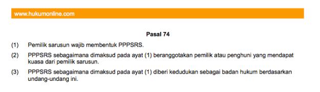 UU No.20 Rumah Susun Tentang Kewajiban Membentuk PPPSRS.
